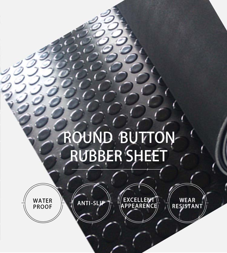 Rubber sheets, heavy weight rubber mats black color high round button embossment top