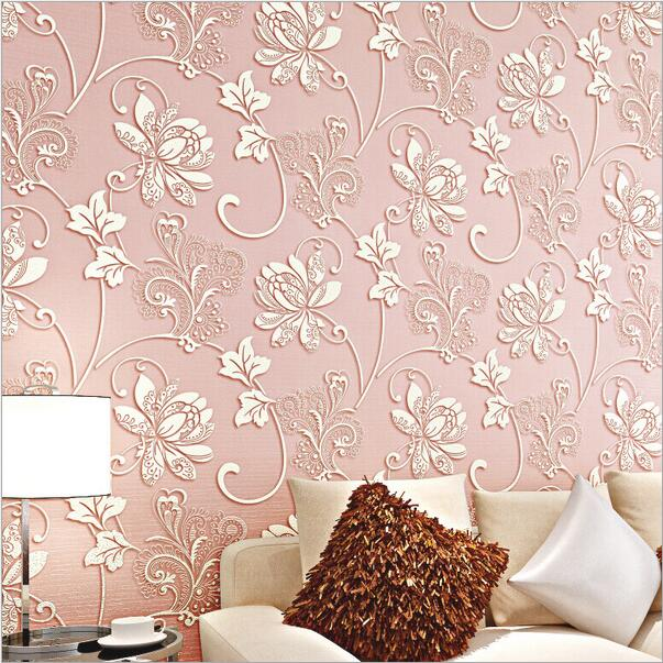 Non-woven self adhesive bedroom wall papers home decor flower romantic wallpaper
