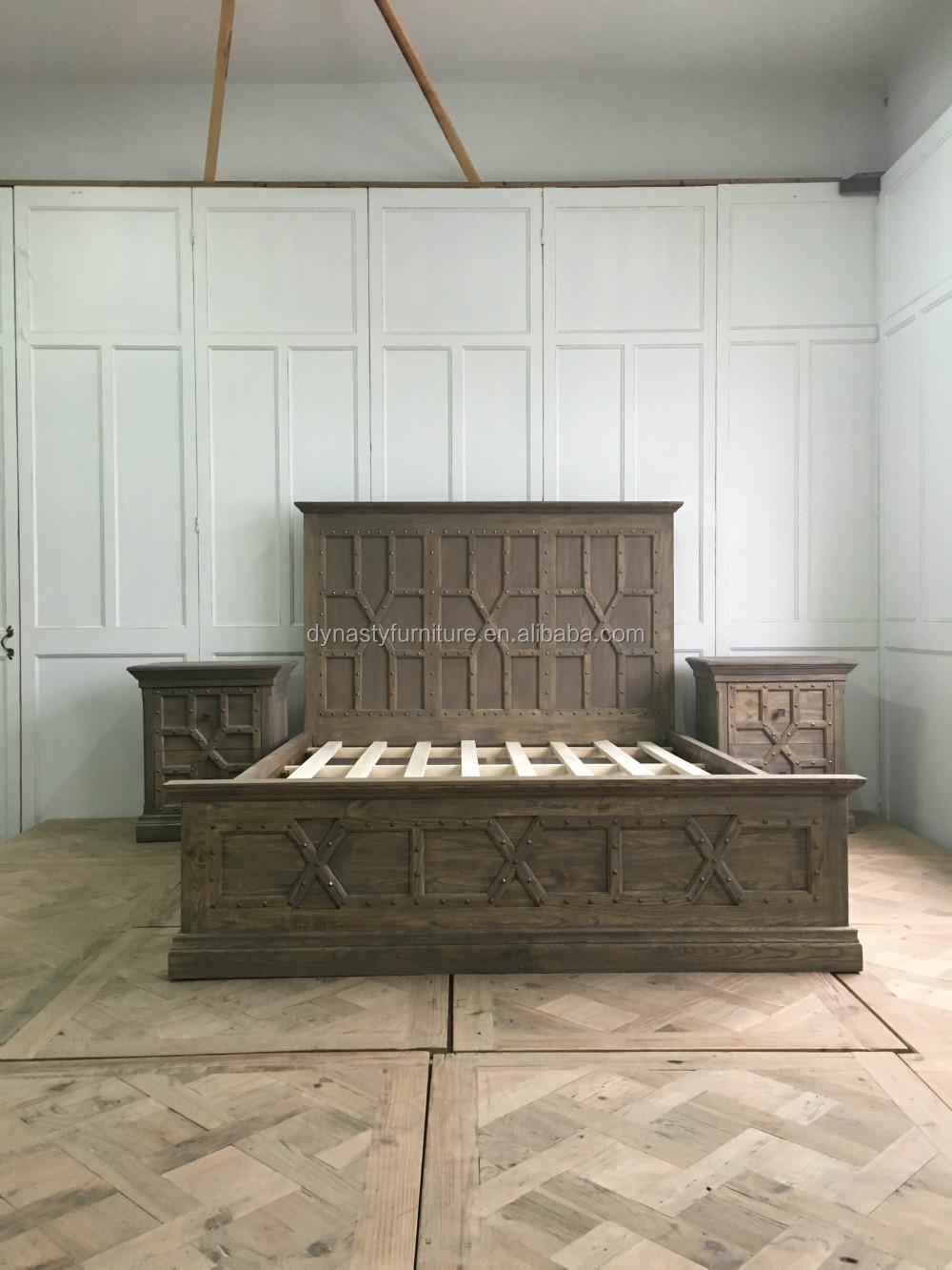 Venta al por mayor madera de estilo antiguo cama king-Compre online ...