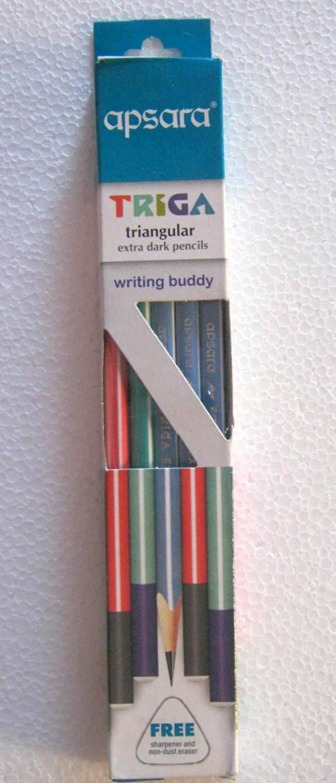 Apsara Triga Triangular Extra Dark Pencils 1 Pack x 10 Pencils +Eraser & Sharpne