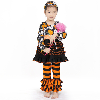 66Tqz743 Sale Halloween Suits Long-Sleeve Ruffle Dress Girls Pants With Headband Clothing Sets