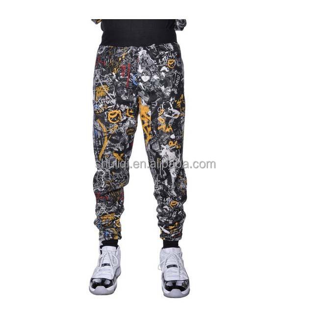 graffiti street art wall street getagd hip hop 3d afdruk fleece broek fitness broek