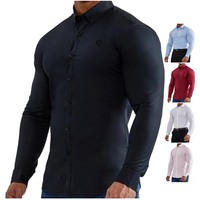 Essential Stretch Sportswear Long Sleeve Athlete Dress Muscle Fit Shirts For Men