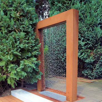 Corten Steel Rain Curtain Water Feature Fountain