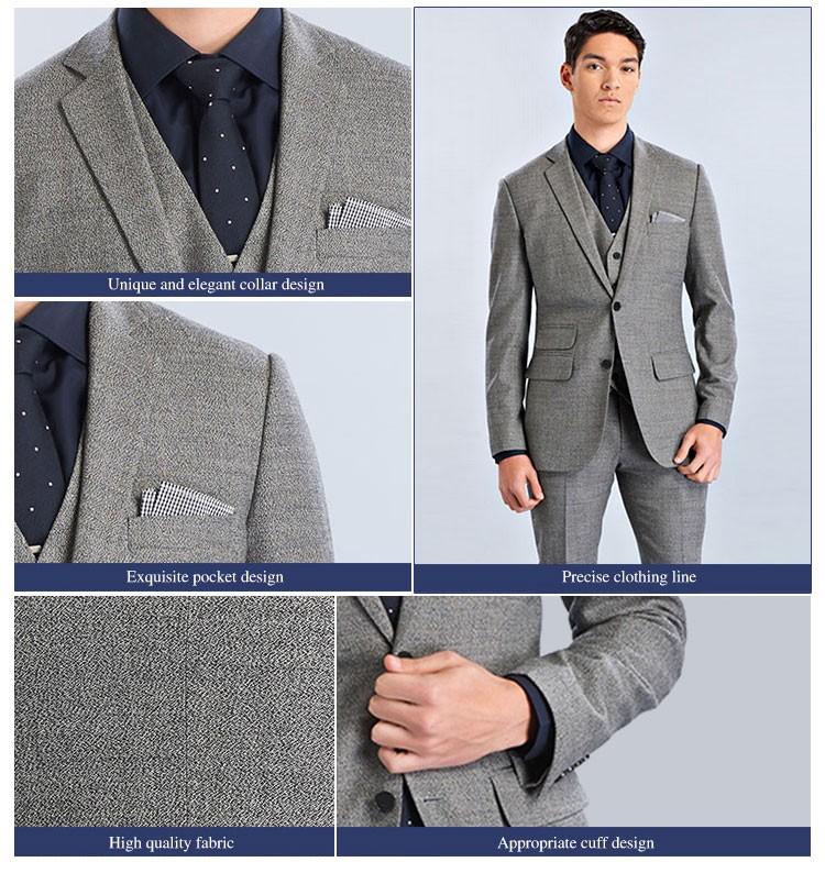 Two Button Men Suit Slim Fit Grey Coat Pant Men Suit - Buy Men ...