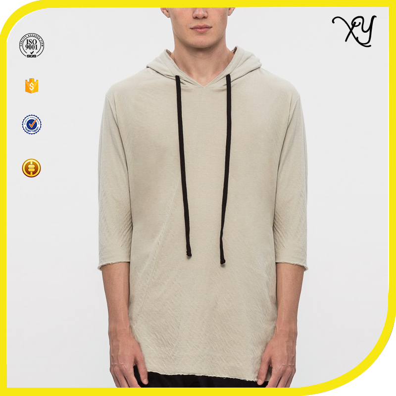 Mens Short Sleeve Blank Plain Dry Fit Gym Hoodie T Shirt Running Sports Hoodie T- shirt Wholesale