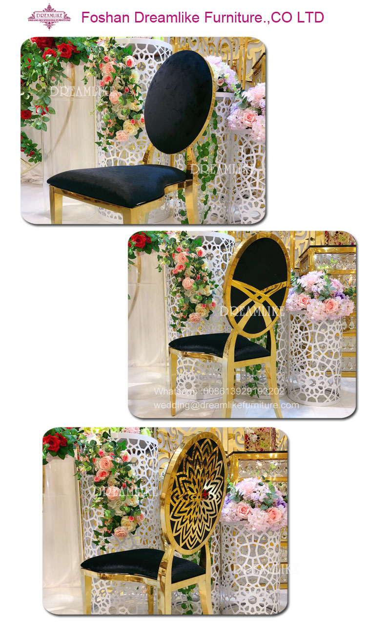 Gold stainless steel king wedding luxury chair have many kinds of collocation