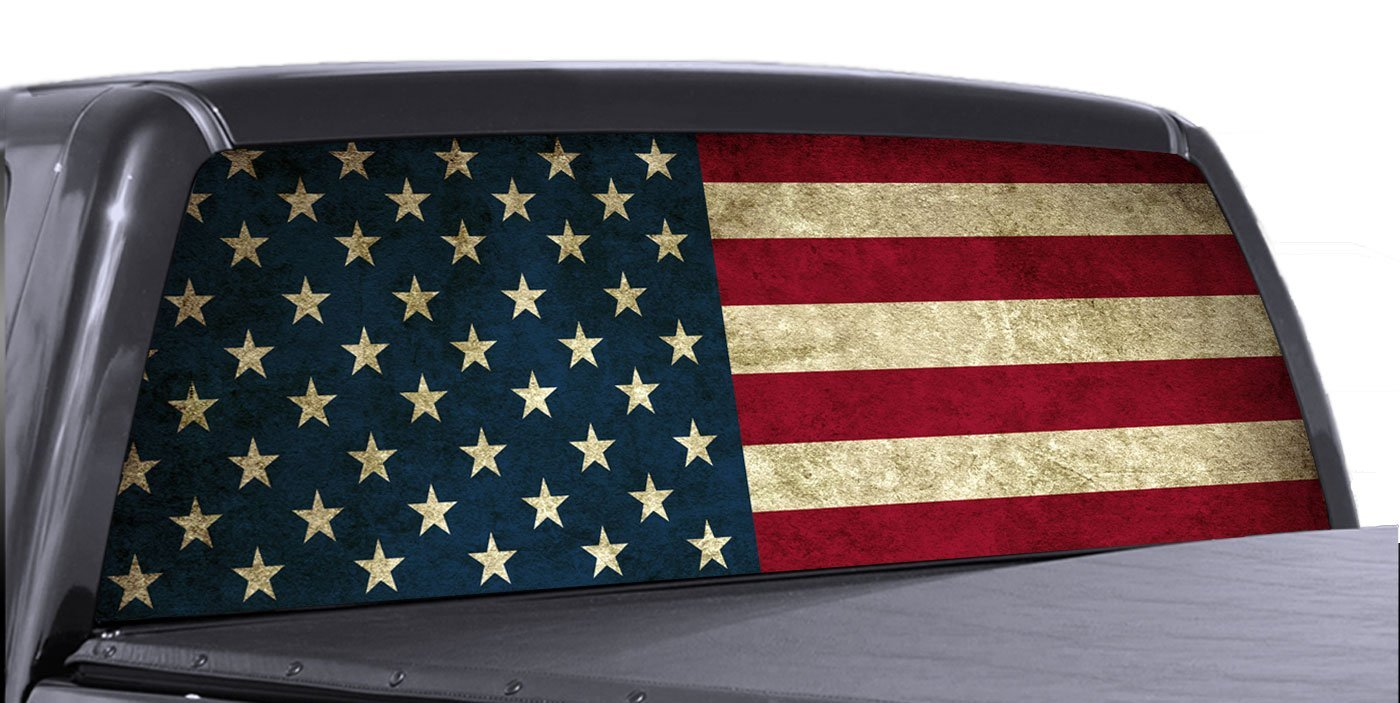 Vuscapes american flag rear window truck graphic decal suv view thru vinyl