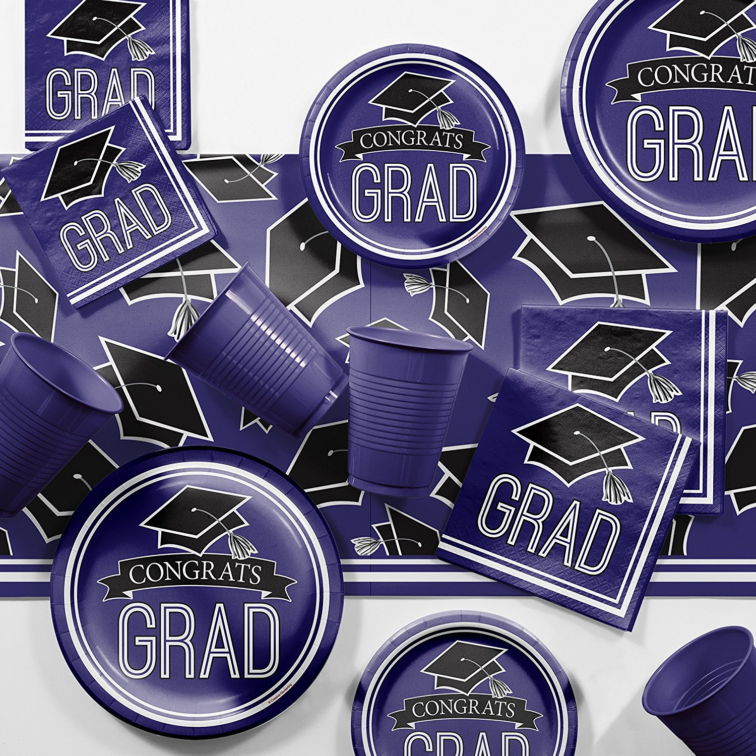 Graduation School Spirit Purple Party Supplies Kit