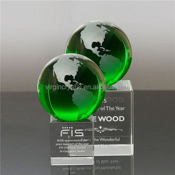 Wholesale Blank green K9 Optical Crystal Globe With 3D Laser Engraved Crystal Cube Base for globe trophy
