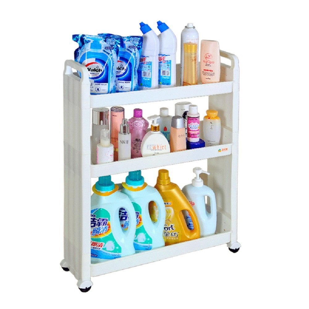 Baoyouni 3 Tier Bathroom Rolling Slim Slide Out Storage Cart, White.