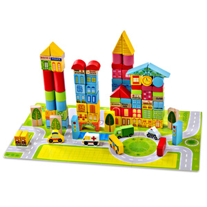 100PCS New style wooden city urban traffic building Blocks toy