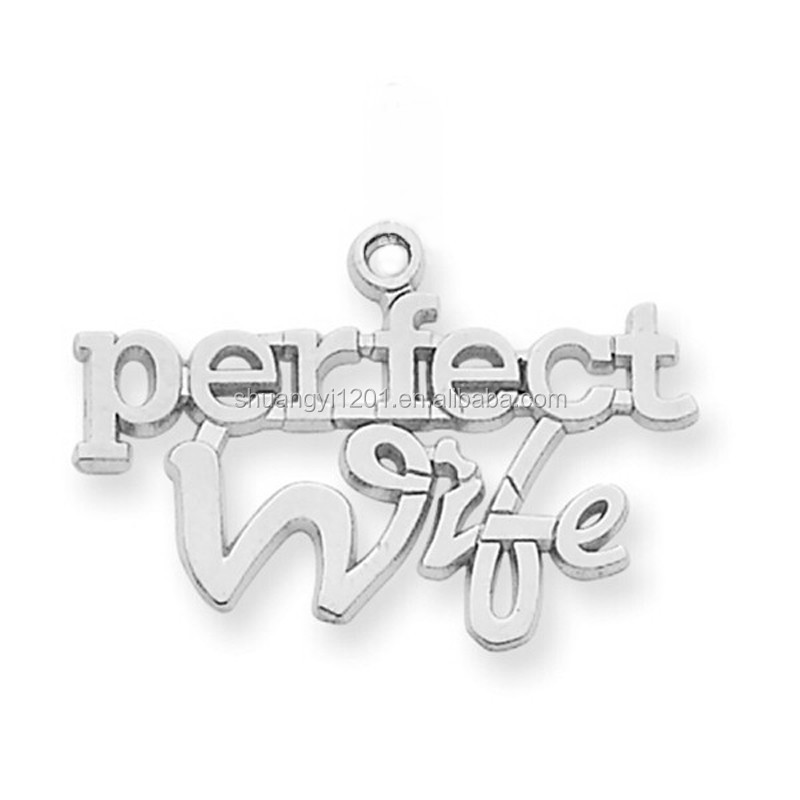 2016 Personalized Engraved Metal Silver Plating Message Perfect Wife Charm