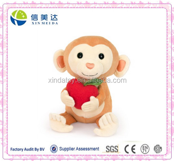 "9"" Plush Baby Organic Monkey with Apple"