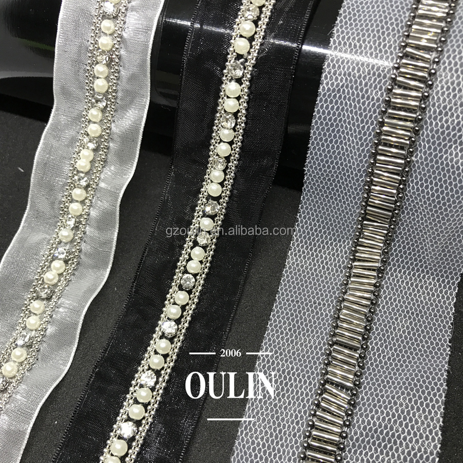 Ball chain trim with rhinestones and tubes glass tubes trim type can be customized ball chain trim