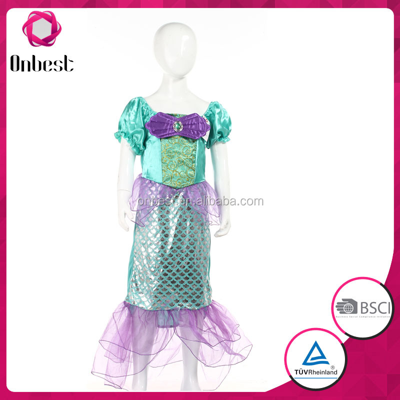 Party girls Ariel dresses purple fish scale with gems decoration princess costumes carnival dresses