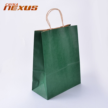 Wholesale Custom Green Kraft Paper Shopping Bags With Handles View