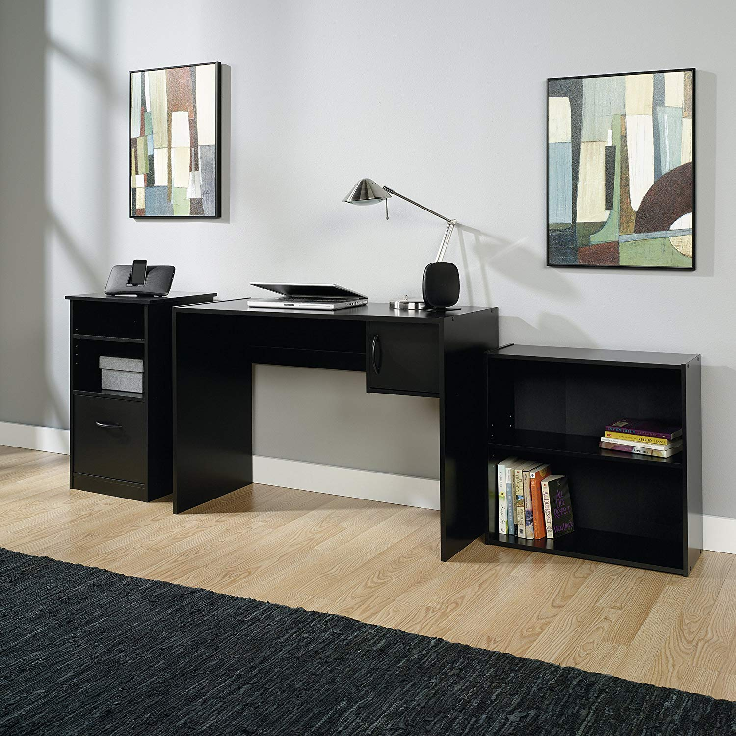 3-Piece Office Set, Includes a Bookcase, Desk and Cabinet all in an Elegant Black Finish to Match any Home Decor, 1 Adjustable Shelf, Storage Cabinet Features an Adjustable Shelf and a File Drawer