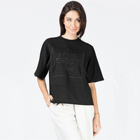 Black logo pique boxy t-shirt made in peru t shirts