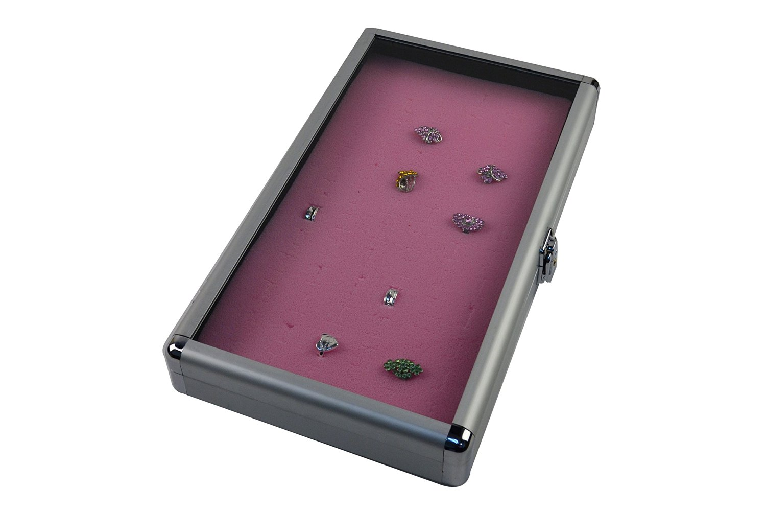 """Regal Pak ® Silver Color Full Size Aluminum Case W/ Locker And Glass Top 14 3/4"""" X 8 1/4"""" X 2 1/8""""H With Pink Ring Foam (72 Rings) 14 -5/16"""" X 7-25/32"""" X 5/8""""H (Jewelry Not Included)"""