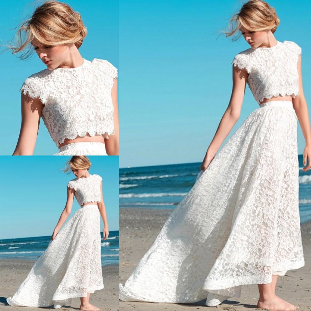 2015 New Fashion Two Piece Wedding Dress Lace High Neck