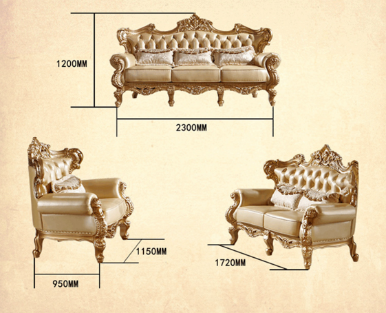 Classic furniture European Living Room Antique Leather Sofa