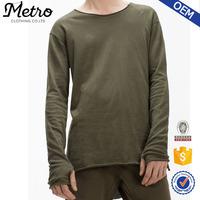 OEM Custom Mens Elongated Hig-Low Raw Cut Hem T- Shirts