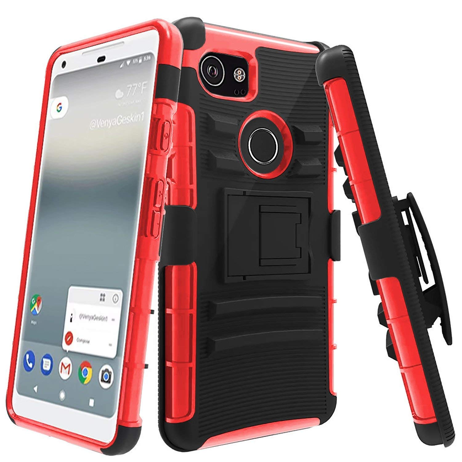 dd1dcb78df Get Quotations · Google Pixel 2 XL Case,SUNGUY Choise Hybrid Kickstand  Heavy Duty Armor Holster Defender Protective