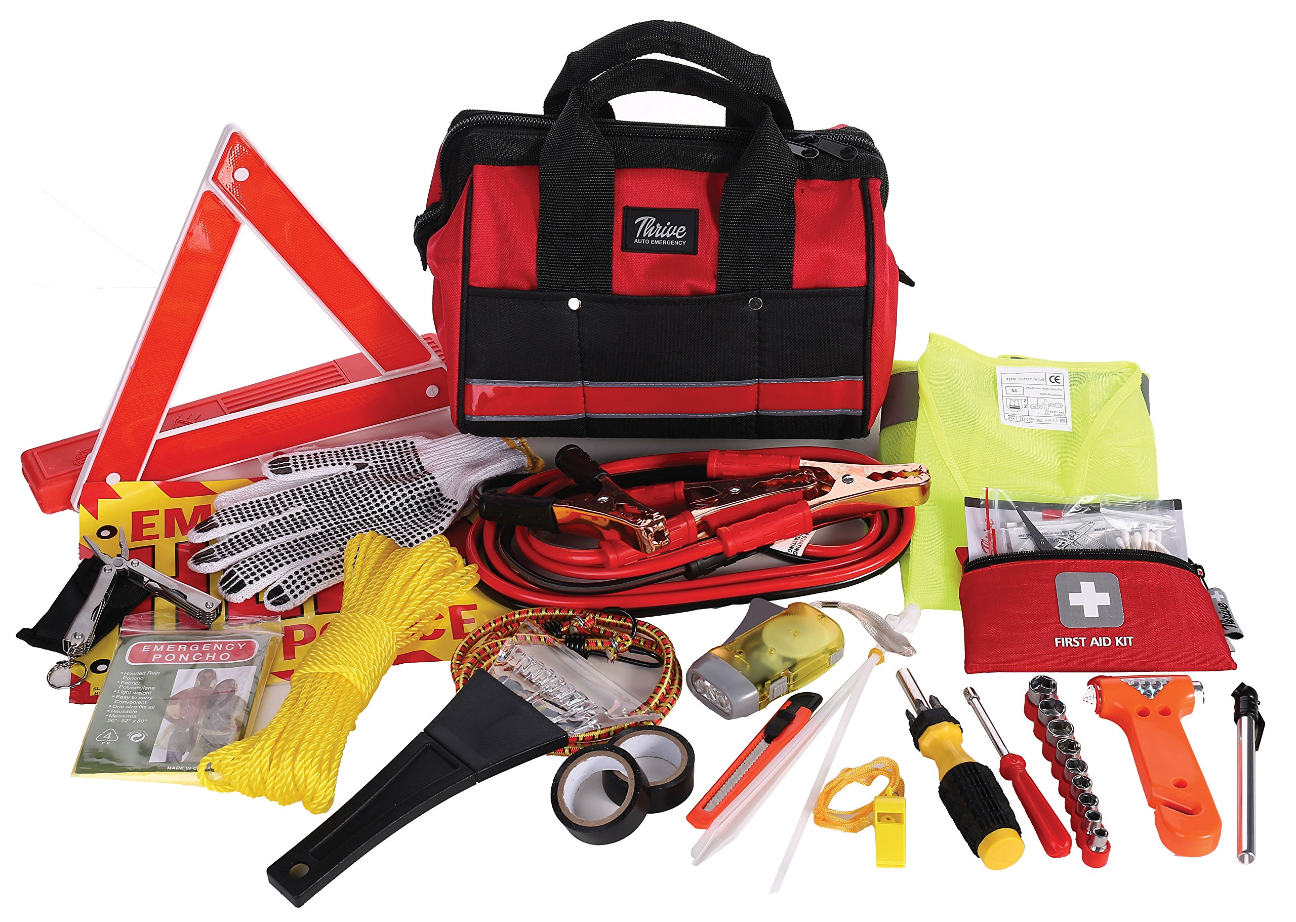 Safety Vest Audew Car Emergency Kit Roadside Assistance Kit Car First Aid Tool Safety Kit Contains Jumper Cables Reflective Triangle Tow Rope