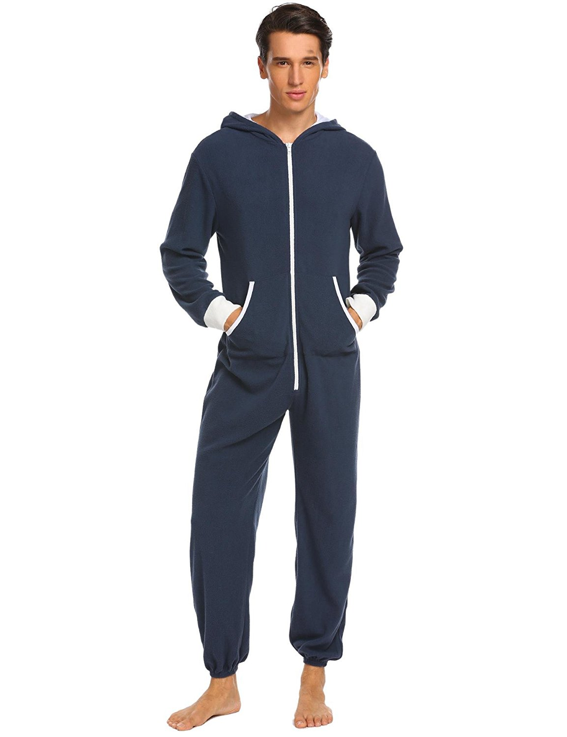 Get Quotations · Ekouaer Mens Hooded Pajamas Set Onesie Jumpsuit Adult One  Piece Pajamas Sleepwear 9335b848c