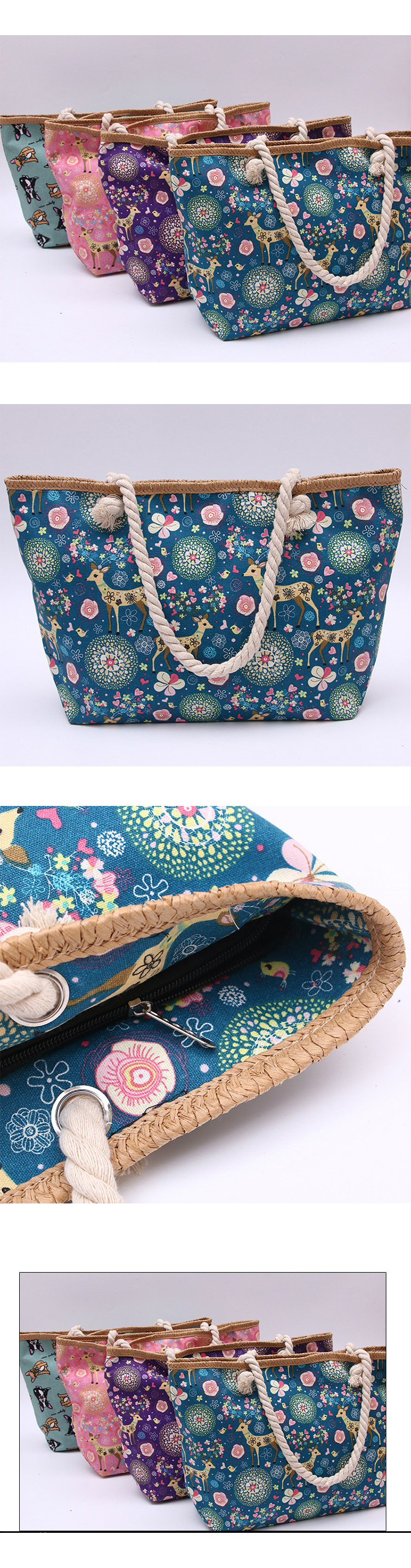 hot selling newest classical flower fashion zipper beach bag