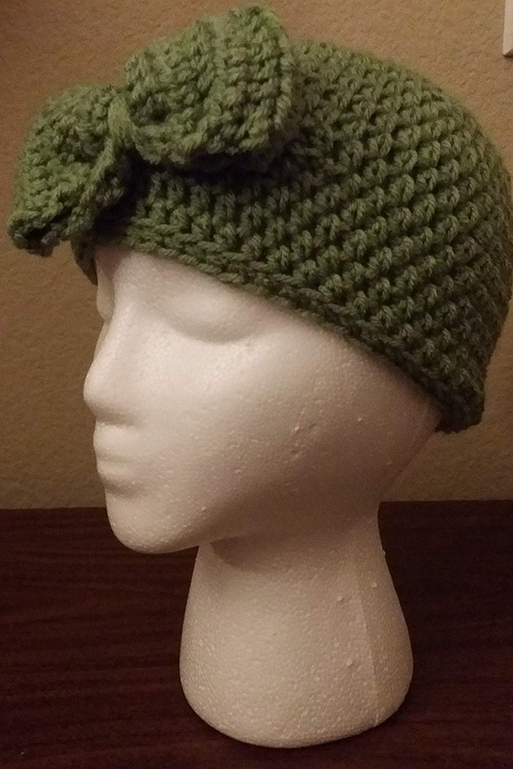 fff5f19f546 Get Quotations · Handmade Crochet Sage Green colored beanie cap with Bow  Adult Size hat