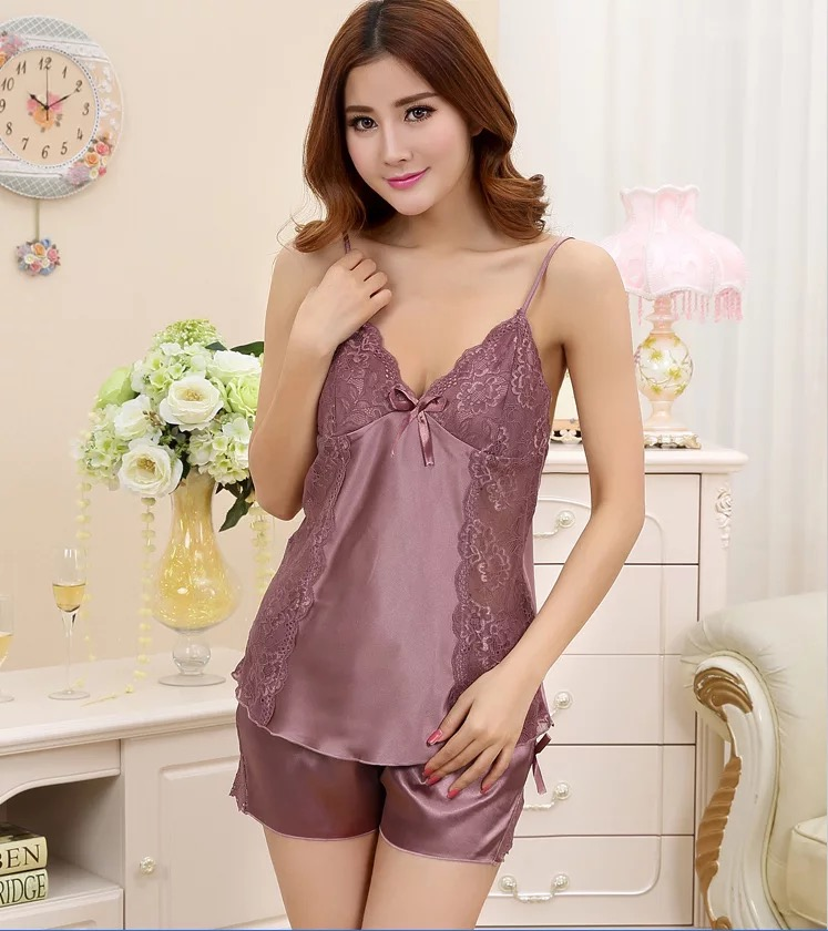 exclusive shoes super service cheapest price Silk Satin Pajamas Lace Chemise And Boxer Shorts Women Sexy Lingerie  Sleepwear - Buy Sexy Lingerie Sleepwear,Chemise And Boxer Shorts,Silk Satin  ...