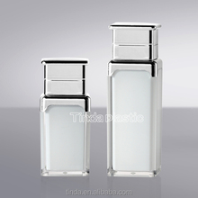 double wall high quality 30ml 50ml 80ml 100ml white opaque square plastic acrylic lotion pump bottles