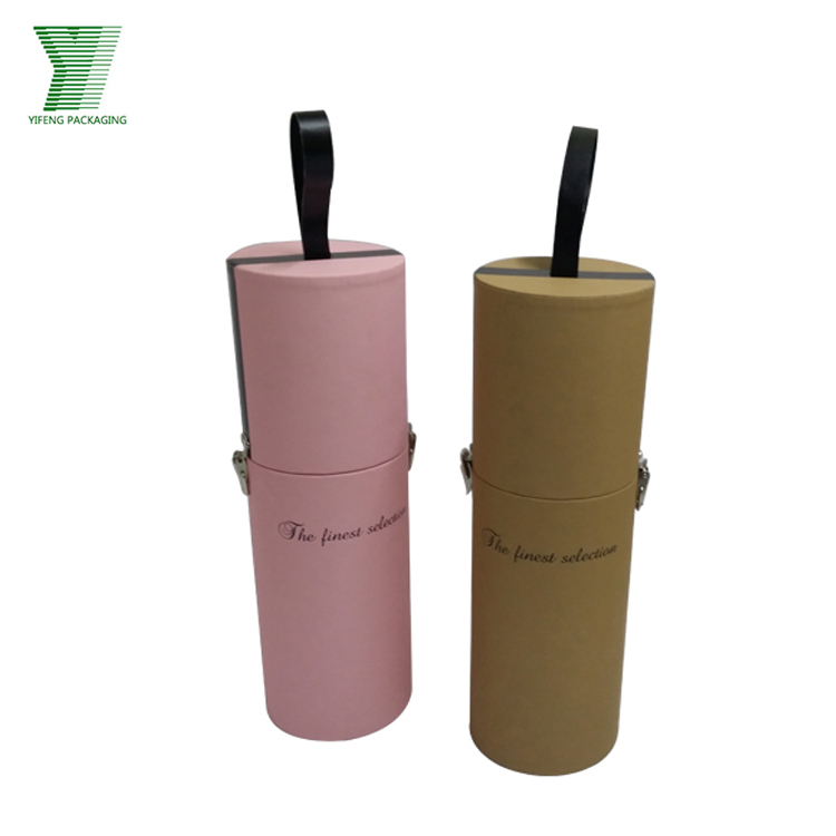 Luxury Handmade Recycle Customized Tube Box With Metal Lock For Wine