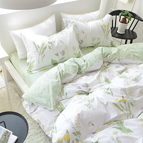 FADFAY Shabby Green Floral Duvet Cover Set Cotton Twin XL Girls Bedding Set 4 PCS(1flat Sheet+1duvet Cover+2pillowcases) Twin Extra Long Size