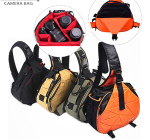 custom-made triangle camera sling shoulder backpack with waterproof rain cover