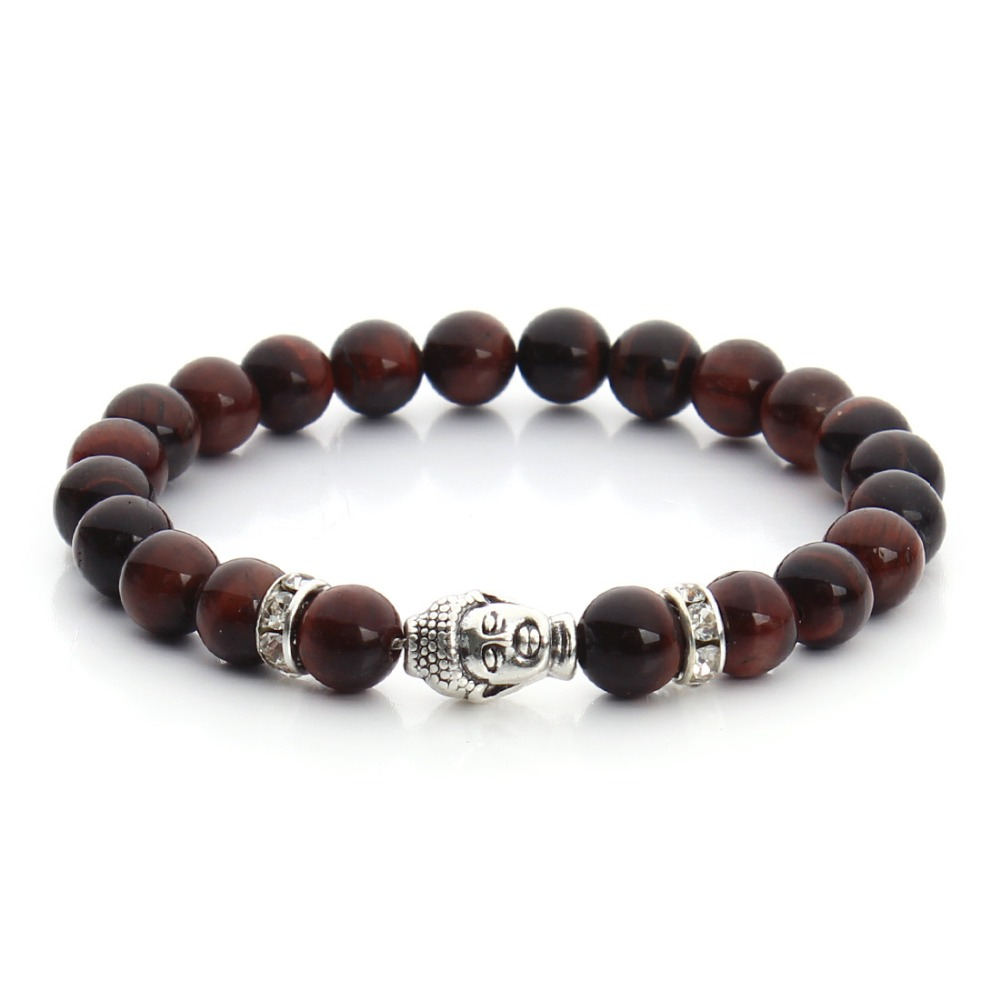 Unisex 8mm Small Gemstone Bead Dark <strong>Red</strong> <strong>Tiger</strong> <strong>Eye</strong> Nature Stone Bead Buddha Charm Elastic <strong>Bracelet</strong>