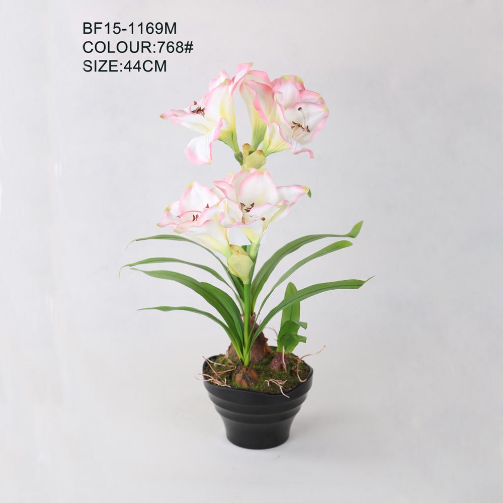 Artificial Hippeastrum Flower Pots Hot Sale Light Pink Artificial