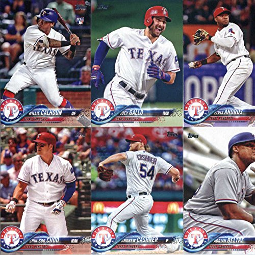 2018 Topps Texas Rangers Team Set of 10 Baseball Cards (Series 1): Joey Gallo(#12), Rougned Odor(#56), Nomar Mazara(#133), Shin-Soo Choo(#199), Andrew Cashner(#208), Texas Rangers(#229), Willie Calhoun(#245), Adrian Beltre(#254), Elvis Andrus(#323), Joey Gallo(#326)