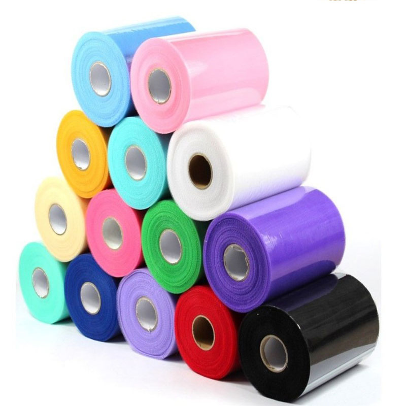 Wholesale 100 Yards 6inch Cheap Polyester 54 Colors TUTU Tulle Fabric Tulle Rolls For Wedding Supplies