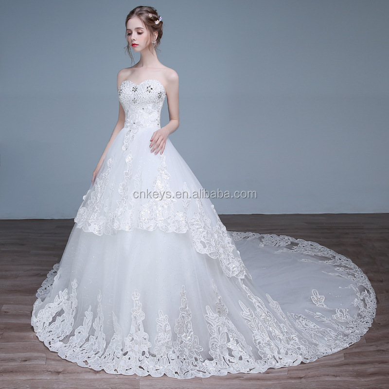 K1934A2017 new summer strapped wedding dress from china custom made wedding dress