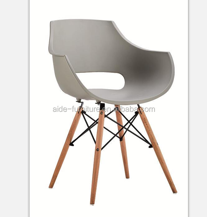 PP plastic shell dining chair with wood legs for cafe restaurant