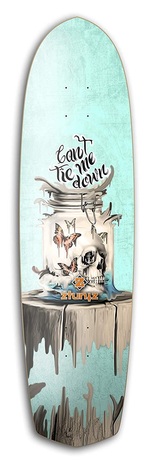 ZtuntZ Skateboards KPD Can't Tie Me Down Cross Town Skateboard Deck, 8.5 x 32-Inch/16-Inch WB, Blue/Black