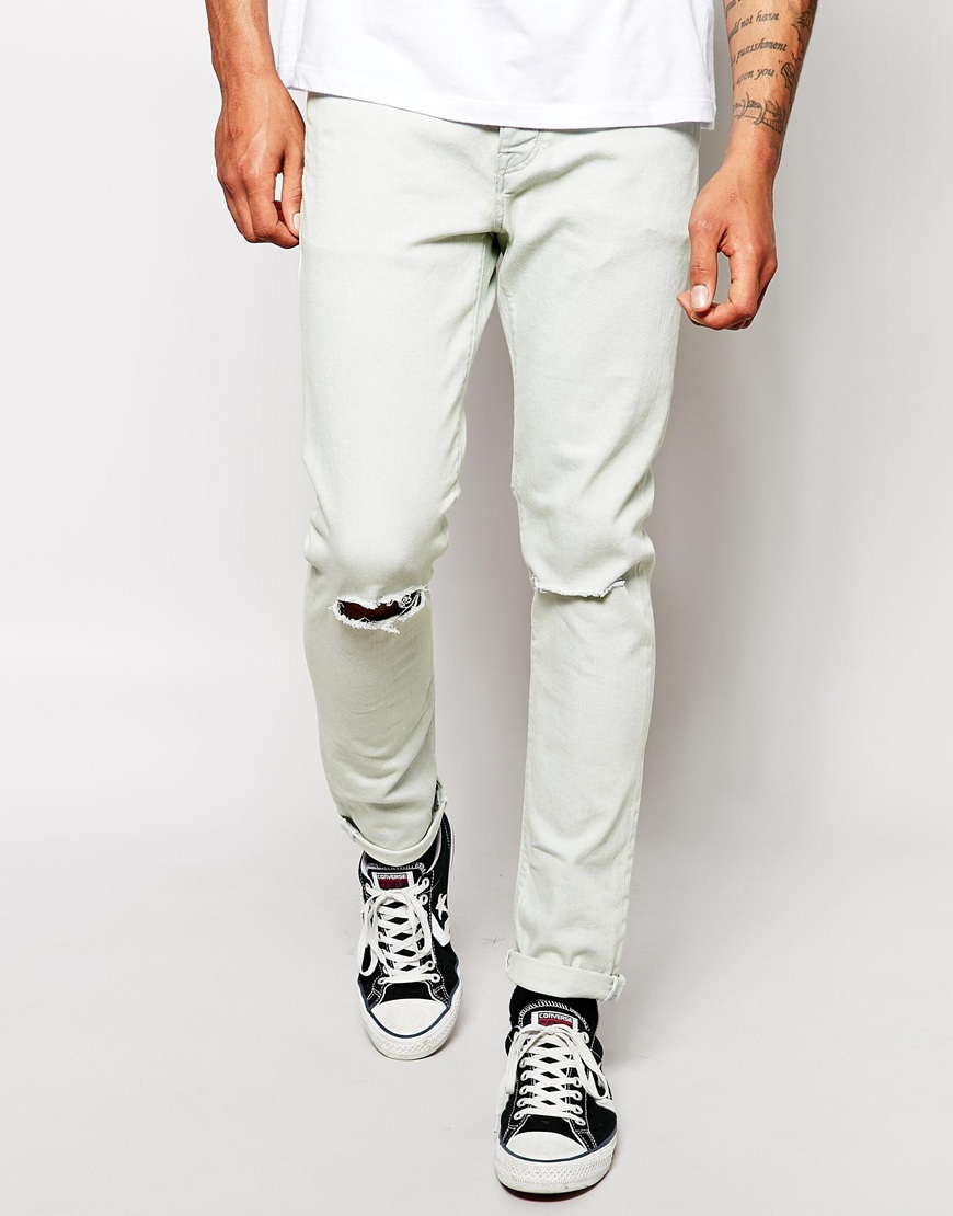 New style boys white ripped jeans for men View white ripped jeans
