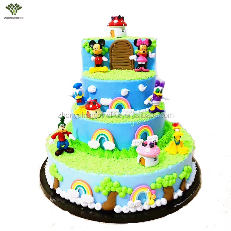 Mickey and Minnie Mouse cake picks plastic cake toppers happy birthday cake decoration 6 PCS Per Pack