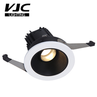 VJC 7W 10W 15W High quality Hotel Recessed Tiltable Low Glare Black Reflector Down Light with recessed ring