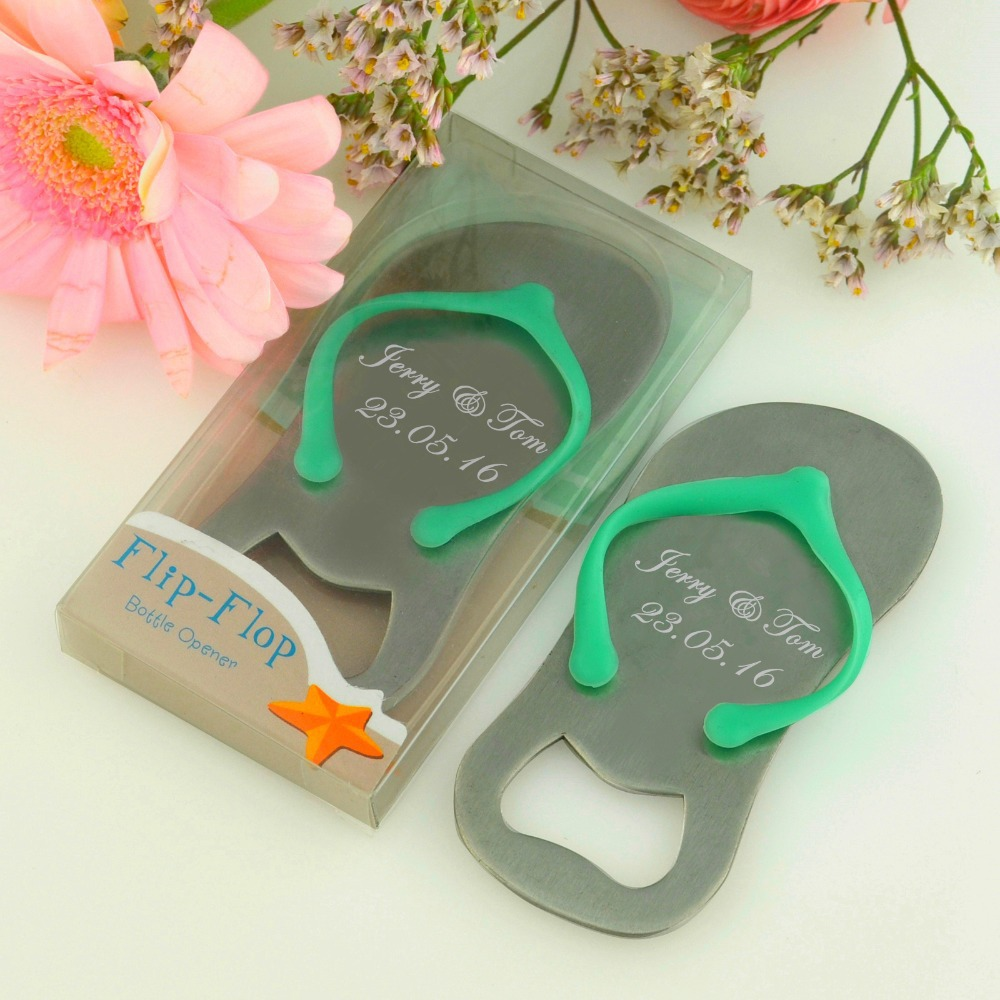 100pcs customized wedding favor and gift personalized wedding souvenirs for guests flip flop. Black Bedroom Furniture Sets. Home Design Ideas