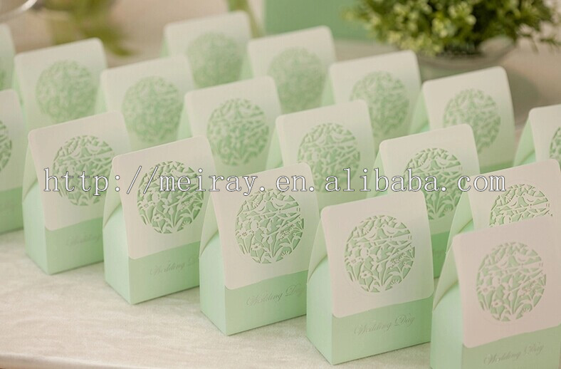 Wedding Party Decorations ! Mint Green Wedding Candy Boxes For Wedding Cake  Decoration.