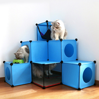 DIY Cat Toy House Multifunctional Cat Toy Condos Kitty Cube Hideout With Toy Scracher and Hammock